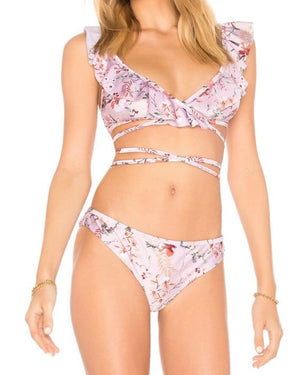 final sale - minkpink - summer meadow frill wrap top and bottom bikini separates