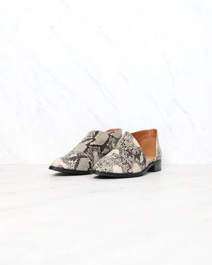 Miracle Miles - Freya Swept Off Your Feet Pointy Toe Ankle Boot in Snake Print Beige