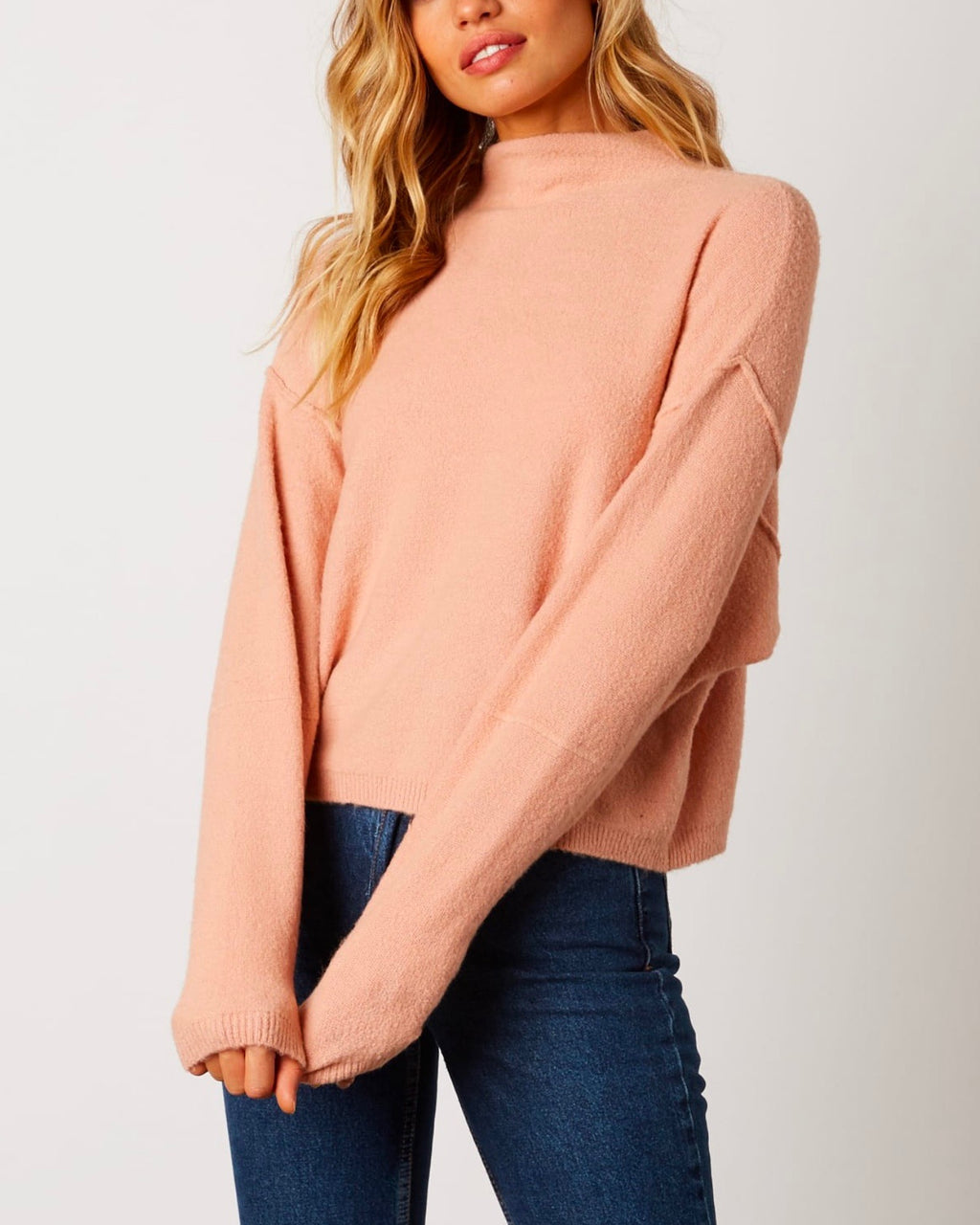 Cotton Candy LA - Mock Neck Ribbed Trim Dropped Shoulders Sweater in Blush