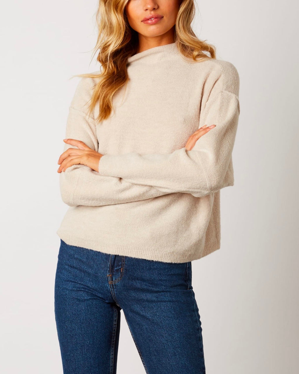 mock neck ribbed trim dropped shoulders sweater - oatmeal
