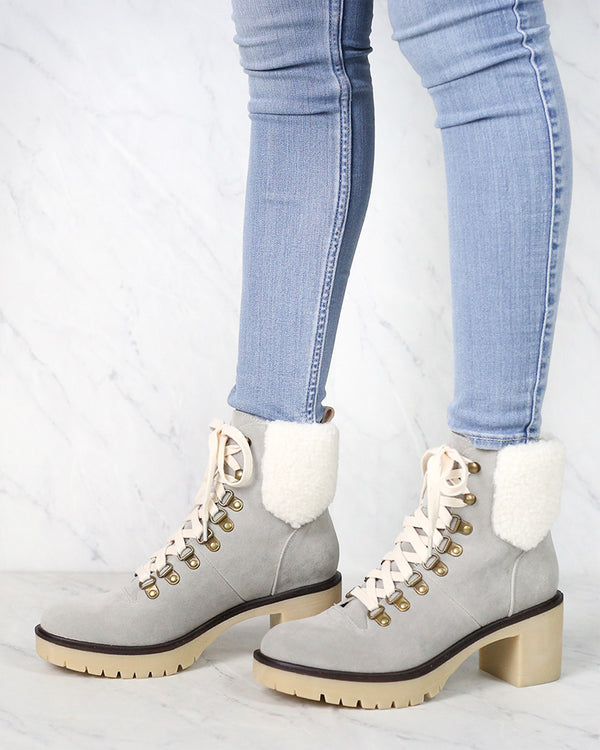 Camille Contemporary Military Bootie in Grey