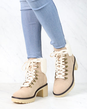 Camille Contemporary Military Bootie in Khaki
