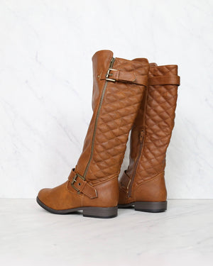lia tall quilted riding boots - chestnut