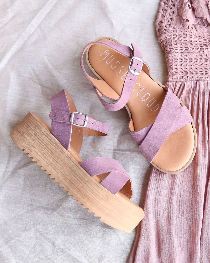 musse & cloud - isabel sporty strappy platform sandal in suede lilac mauve