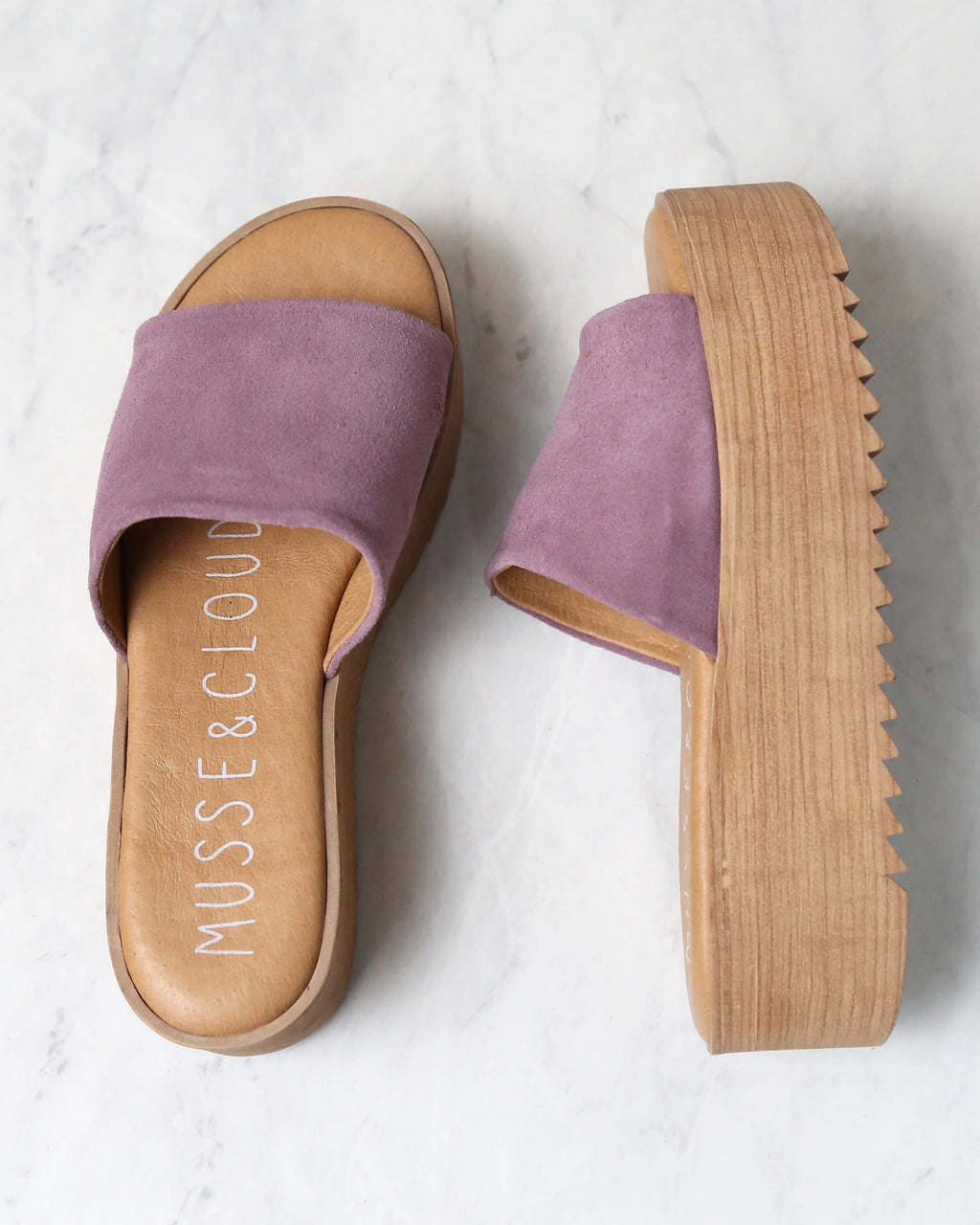 musse & cloud - kendria platform slip on sandal - suede leather lilac mauve