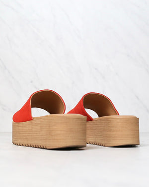 musse & cloud - kendria platform slip on sandal - suede leather red
