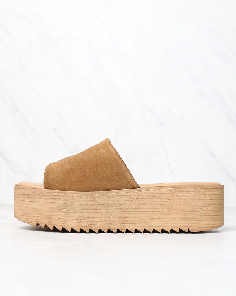 musse & cloud - kendria platform slip on sandal - suede leather tan