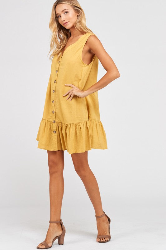 Sleeveless Buttoned Ruffle Hem Shift Dress in Mustard