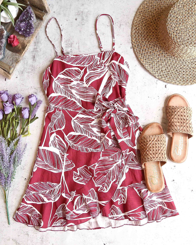 All The Things We Love Leaf Floral Wrap Dress in More Colors