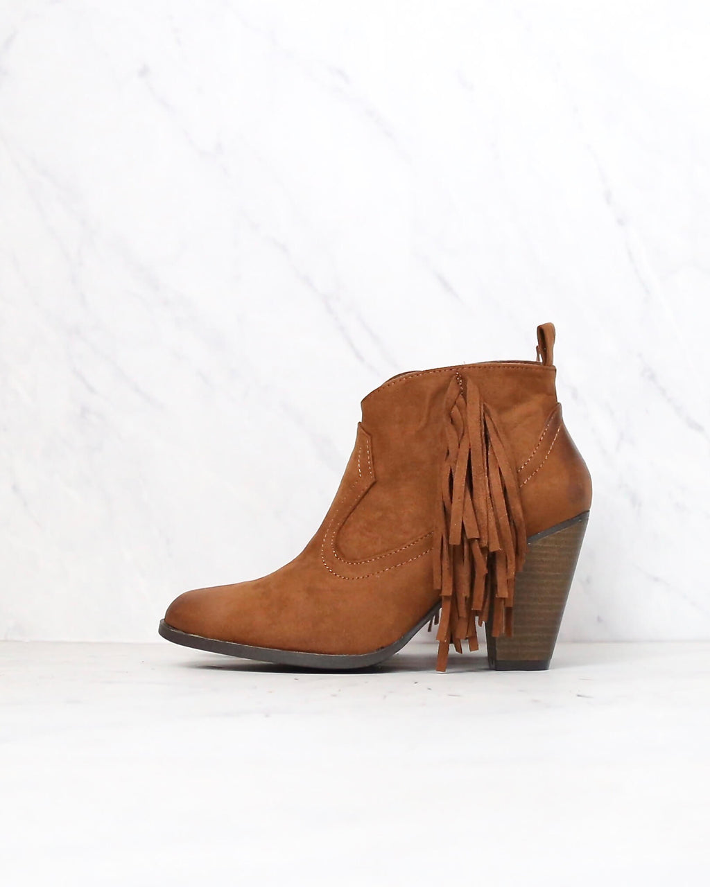 final sale - cara fringe ankle boots - rust