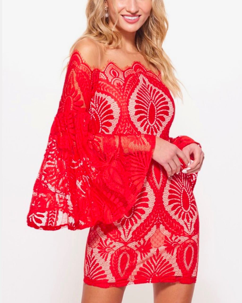 no looking back bell sleeved lace dress with mesh overlay in red