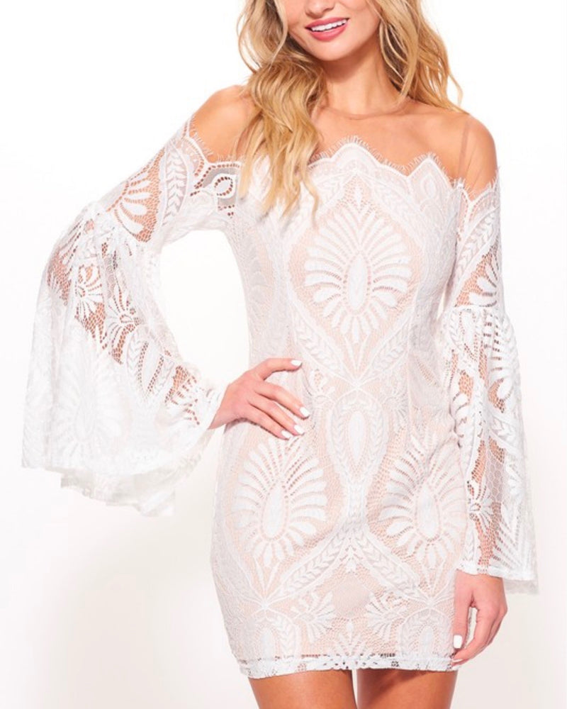 no looking back bell sleeved lace dress with mesh overlay in white