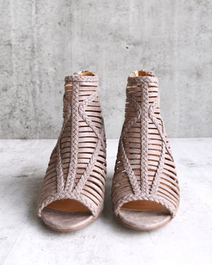 Not Rated Love To All Woven Cutout Ankle Heeled Bootie in Grey