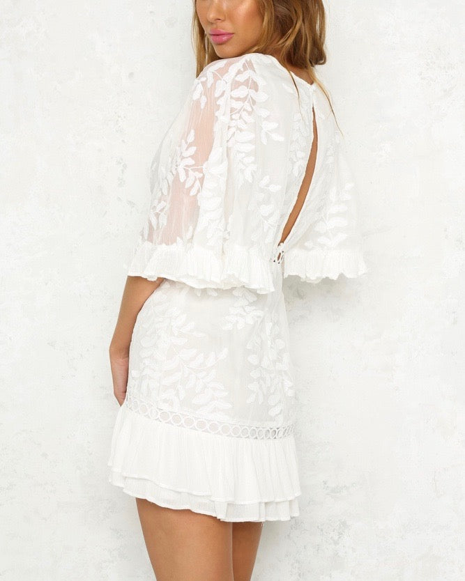 297de90ba7 not without my coffee batwing leaf embroidered ruffle trim mini dress in  white