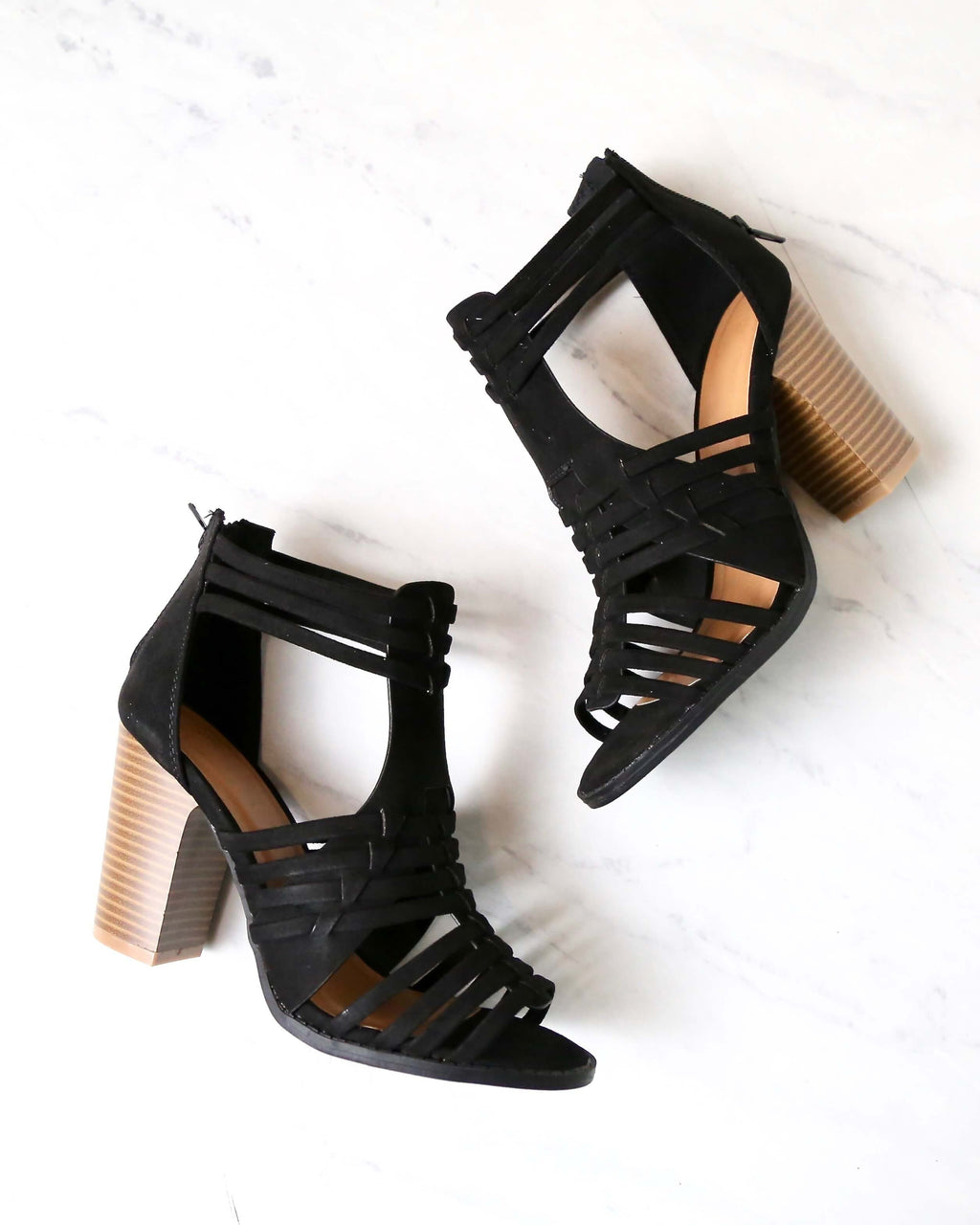 Nothing Breaks Like a Heart Cut Out Woven Ankle Strap Suede Peep Toe Booties in Black