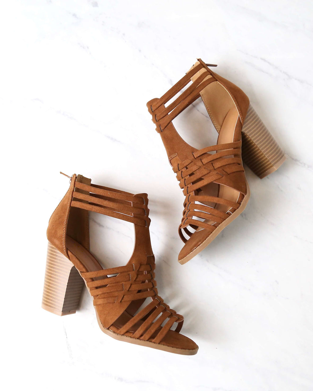 Nothing Breaks Like a Heart Cut Out Woven Ankle Strap Suede Peep Toe Booties in Chestnut