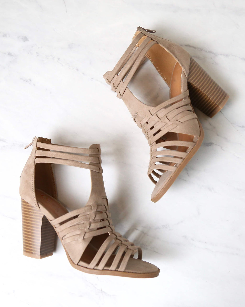 Nothing Breaks Like a Heart Cut Out Woven Ankle Strap Suede Peep Toe Booties in Taupe
