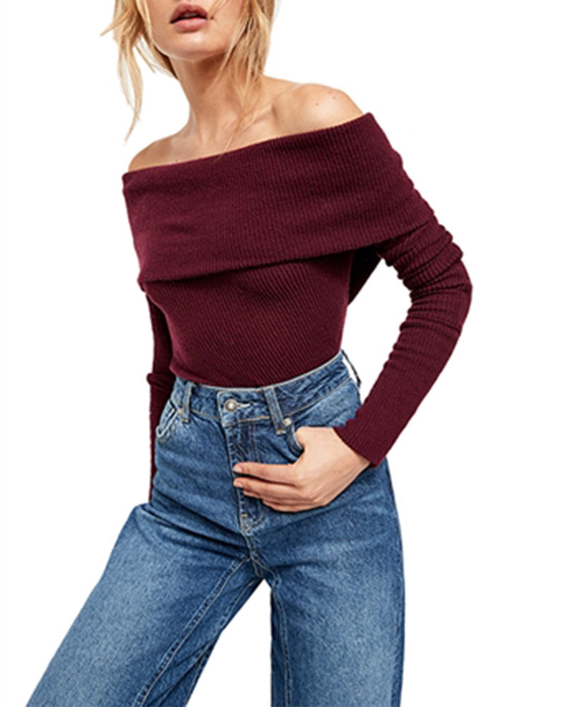 Free People - Snowbunny Off The Shoulder Top in Burgundy