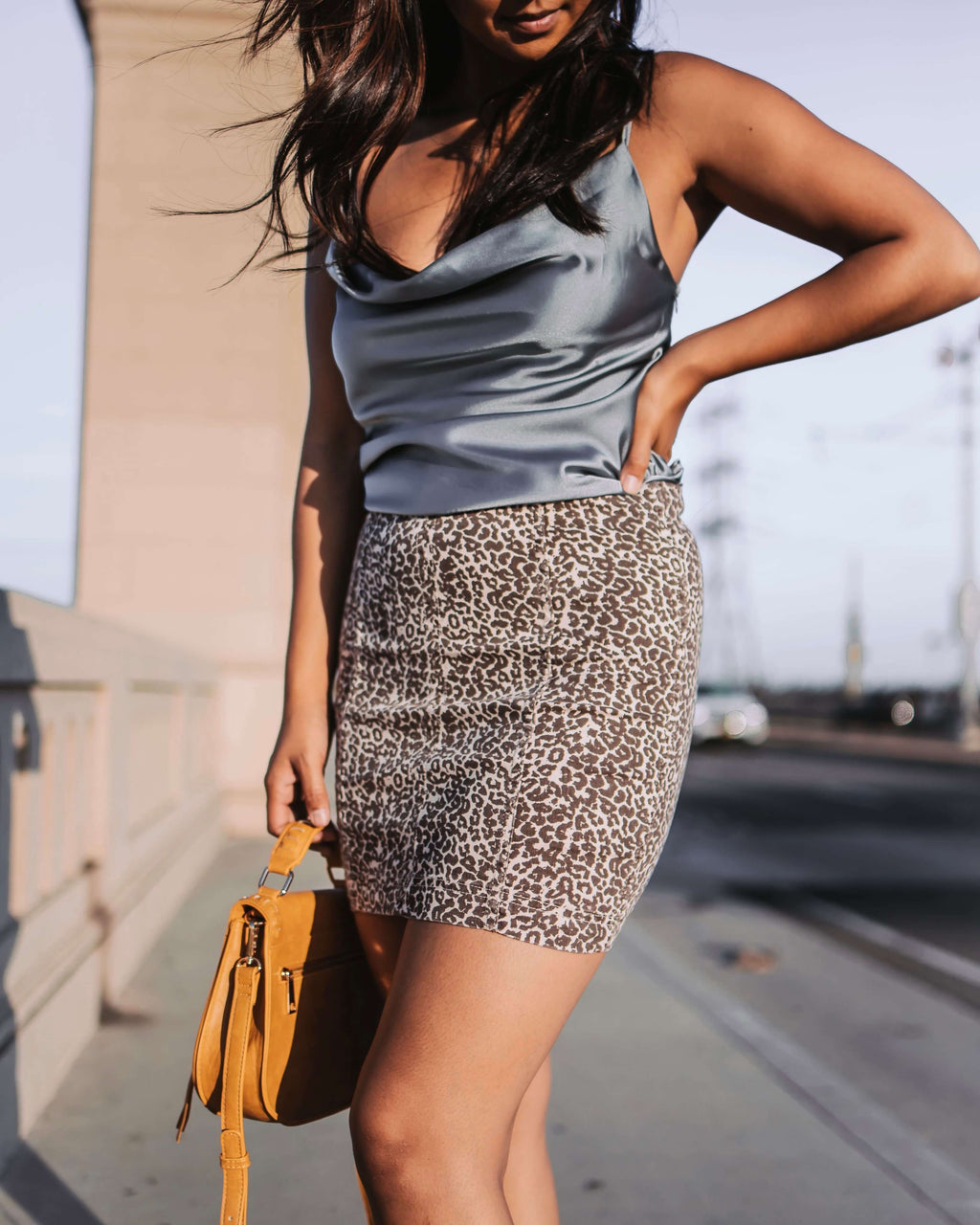 Free People - Modern Femme Novelty Mini Denim Skirt in Leopard Print