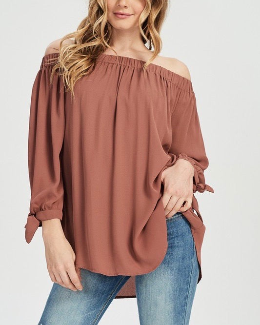 Show Me Off The Shoulder Top in Brick