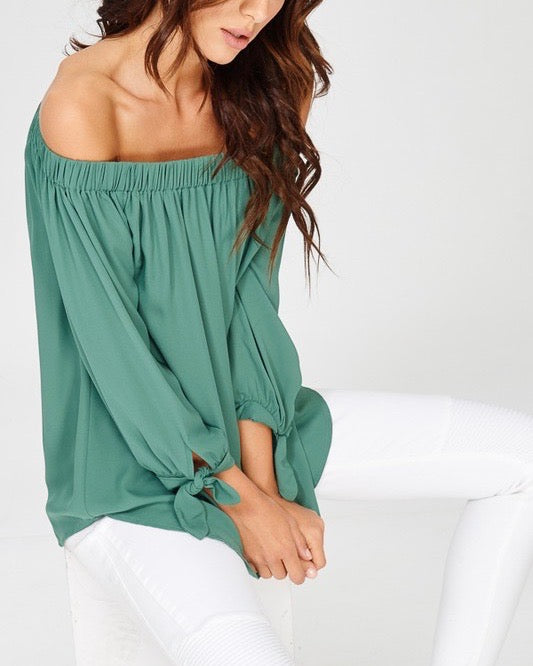 show me off the shoulder top - green
