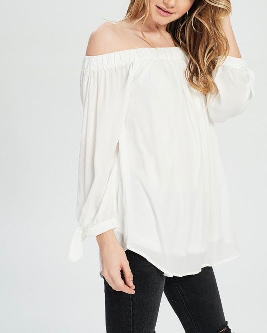 show me off the shoulder top - ivory
