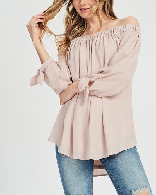 show me off the shoulder top - muted pink