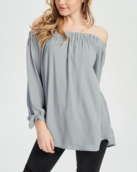 show me off the shoulder top - muted grey