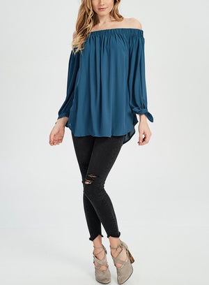 Show Me Off The Shoulder Top in Teal