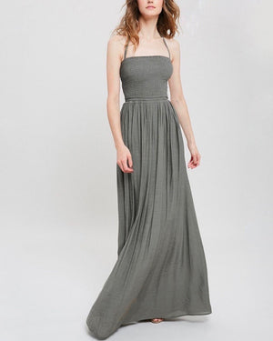 On Cloud 9 Halter Tube Smocked Maxi Dress - More Colors