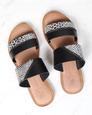 bc footwear - on the spot black sandals with exotic print