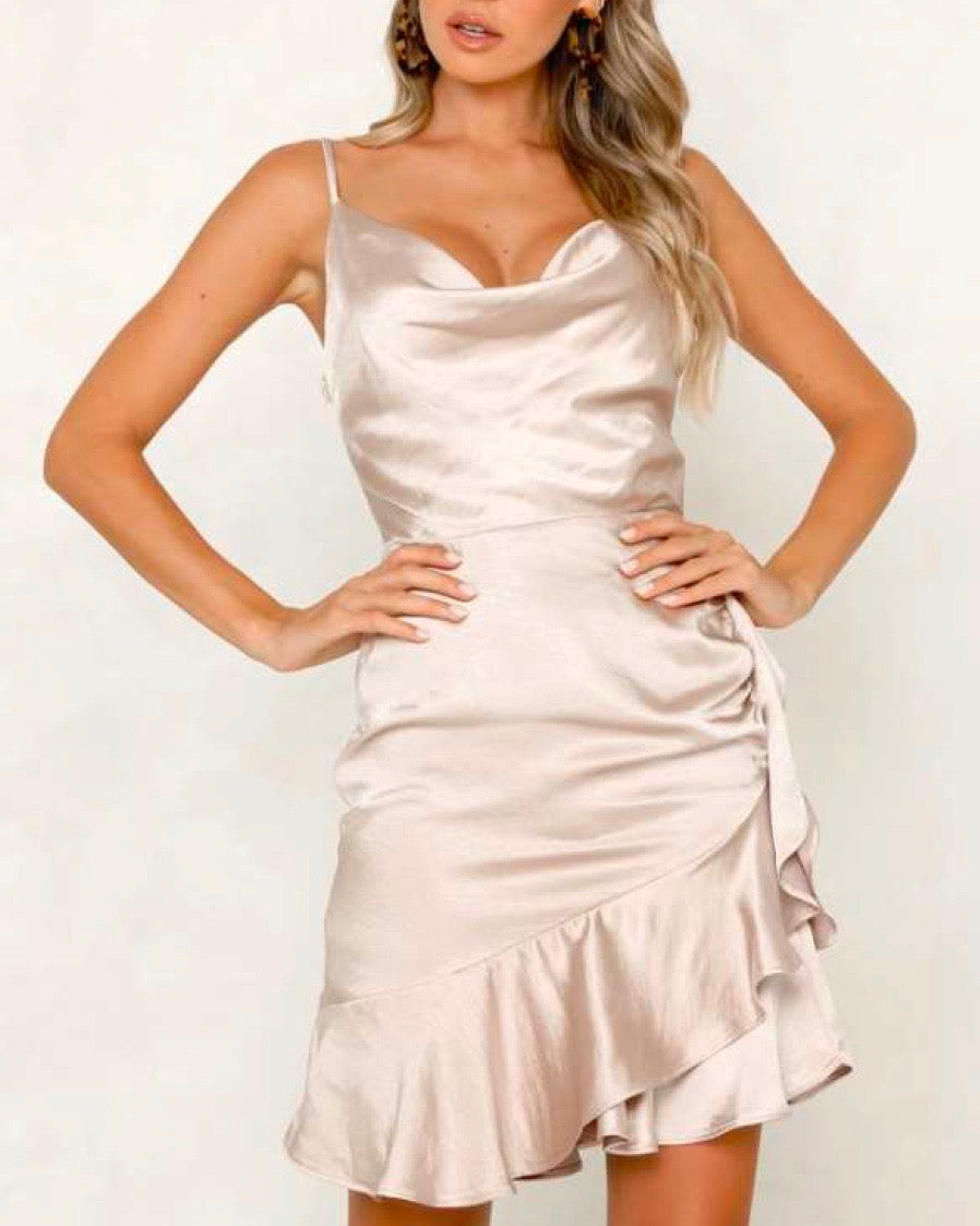 Final Sale - On Thin Ice Satin Cowl Neck Mini Dress with Ruffle Hem