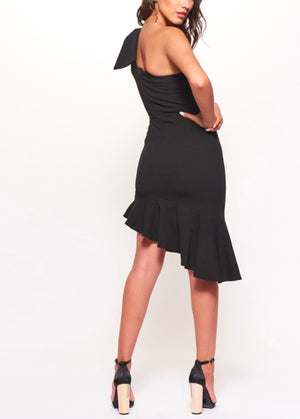 One Shoulder Bodycon Dress with Asymmetrical Hem in Black