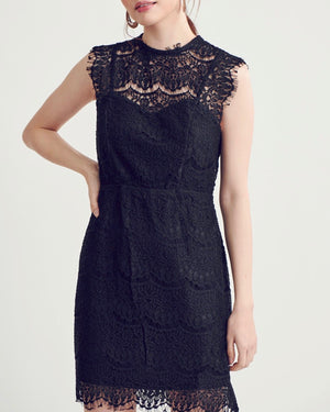 Open Back Mock Neck Lace Dress - More Colors