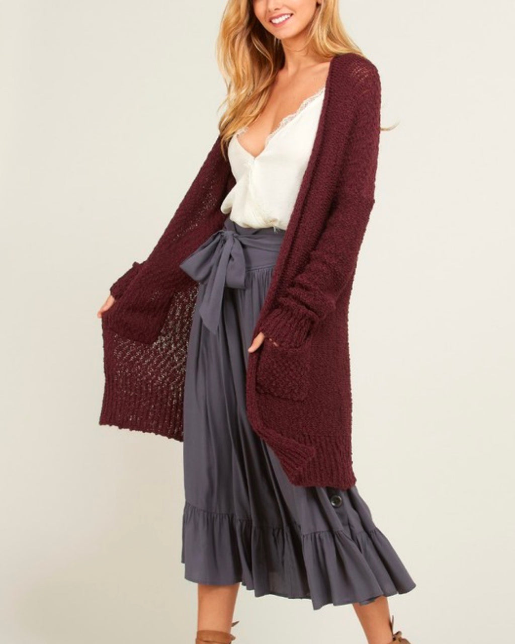 daa74f39bd open-front long-line cardigan - burgundy