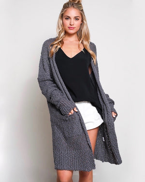 FINAL SALE - Open Front Longline Cardigan in Charcoal