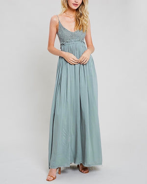 open back crochet maxi dress - DARK SAGE