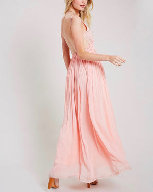 open back crochet maxi dress - baby pink