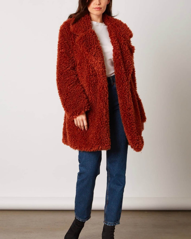 open collar shaggy faux fur jacket - copper