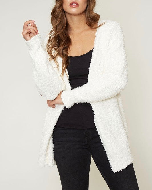 fuzzy knit open front long sleeve cardigan - ivory