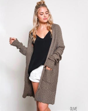 open-front long-line cardigan - olive