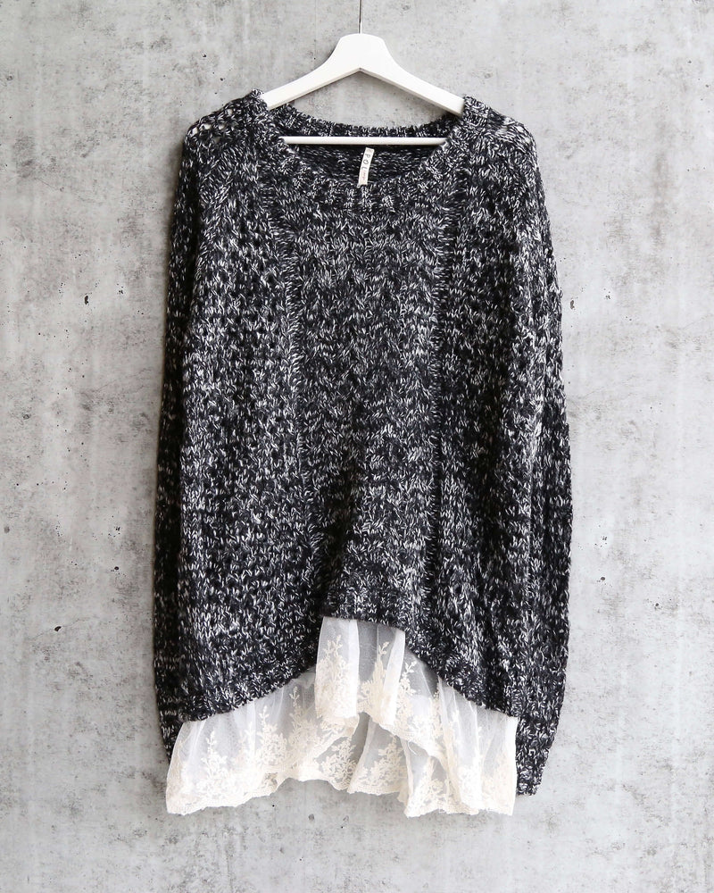 open knit sweater with lace hem - marle charcoal