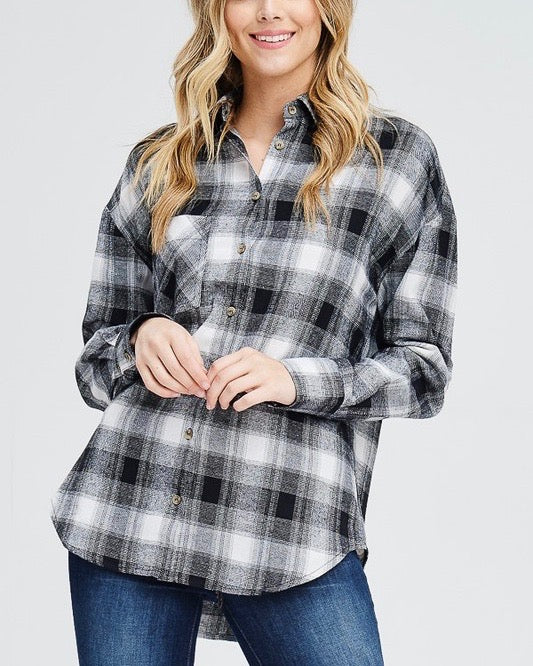 Slightly Oversized Buffalo Plaid Flannel Button Down in Black/Off White