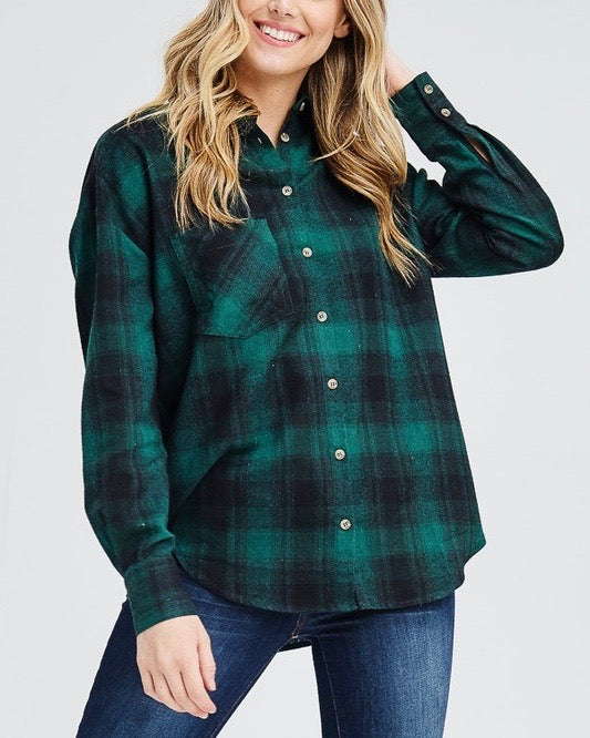 Slightly Oversized Buffalo Plaid Flannel Button Down in Green/Black