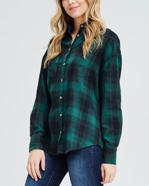 slightly oversized buffalo plaid flannel button down - green/black