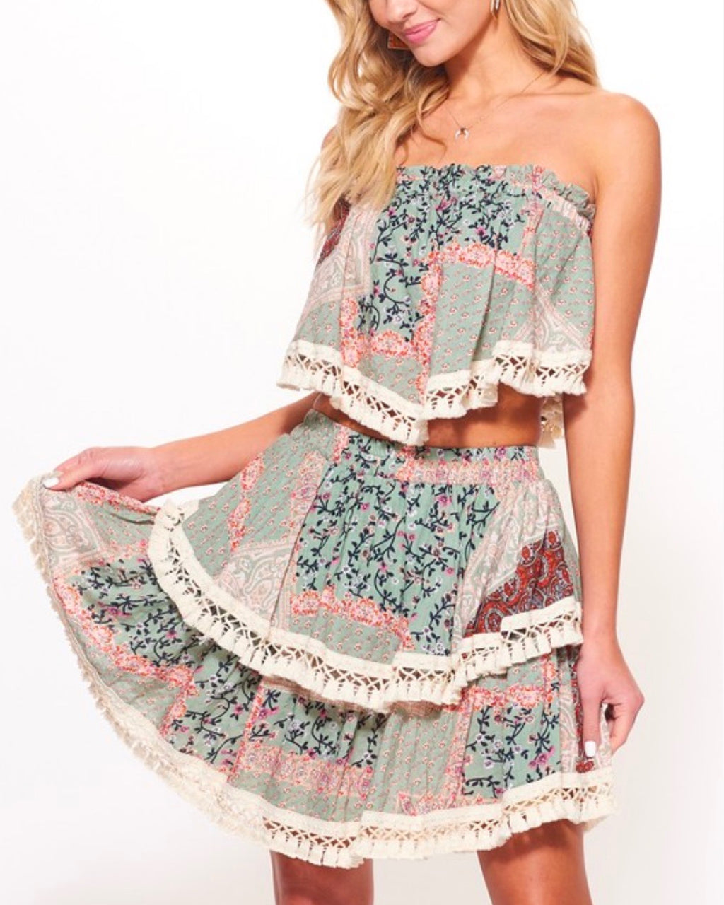 Paisley Printed Strapless Top Skirt Set with Tassel Trim in Olive