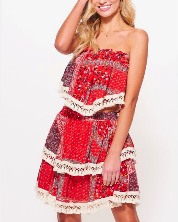 Paisley Printed Strapless Top Skirt Set with Tassel Trim in Red