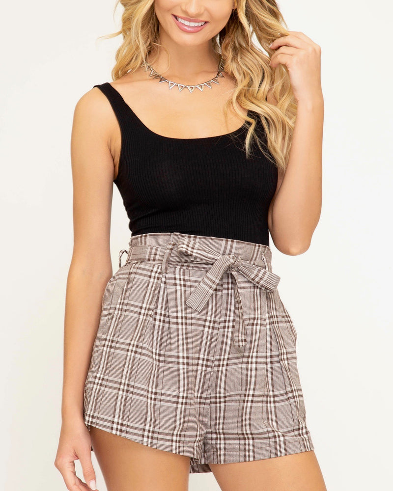 Paperbag Woven Plaid Shorts with Waist Tie and Pockets in Mocha