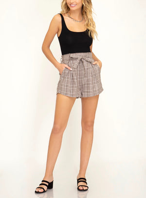 paperbag woven plaid shorts with waist tie and pockets - mocha
