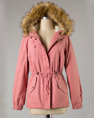 Faux Sherpa Lined Military Hooded Utility Parka Jacket in More Colors